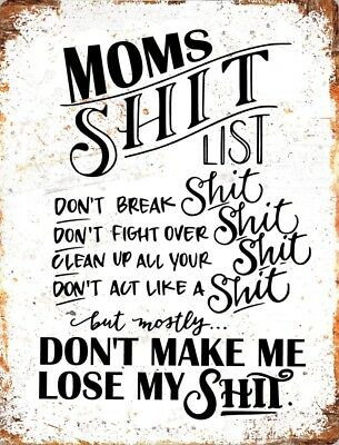 Vintage METAL Plaque MOMS MUMS Mother SH*T LIST Funny Rules KITCHEN Gift SIGN