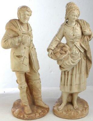 "Marwal Chalkware 2 Statues Set Man 18"" & Woman 19"" French Sailor Fisherman VTG"