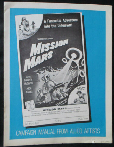 Mission Mars 1968 Allied Artists Pressbook Publicity Synopsis Advertising Sci-Fi