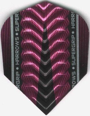 Pink Harrows Supergrip X Dimplex Ribs Dart Flights  3 Per Set