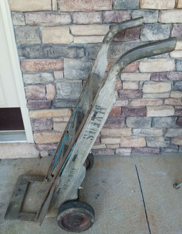 Vintage Antique Old Industrial Heavy Duty Wood Iron Hand Truck Dolly Barrel Cart