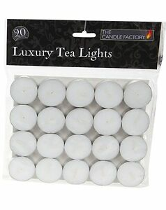 PACK OF 20 x LUXURY TEA LIGHTS CANDLES 4cm EVERYDAY WHITE