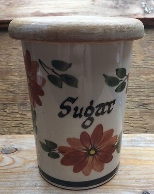 Vintage Toni Raymond Sugar Canister/Retro Floral/West Country Pottery/1960/70's