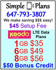 KOODO $49 6GB LTE data Unlimited talk text plan + $50 Credit
