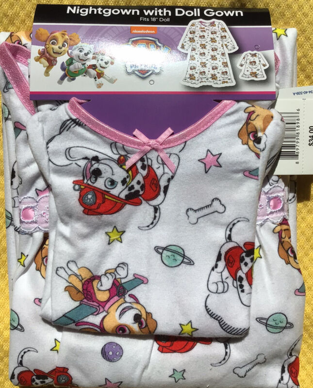 Nickelodeon PAW PATROL Toddler Girl's 3T Nightgown w Doll Gown Flannel NWT!