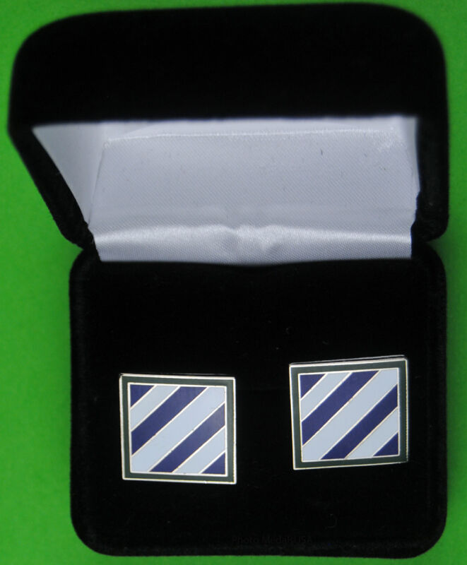 """3rd Infantry Division Army Cuff Links in Presentation Case  """"Rock of the Marne"""""""