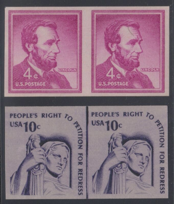#1058a & #1617b (dull Gum) Imperf Pairs (2) Different Major Error Br1473