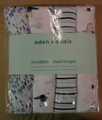 "New Aden+Anais 4-Pack Cotton Muslin Swaddles Seashore 44""x 44"""