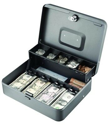 Steelmaster Tiered Cash Box Wbill Weights Cam Key Lock Charcoal