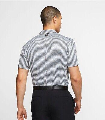 Nike Tiger Woods TW Polo Vapor Striped Golf Medium M White Grey Black Frank