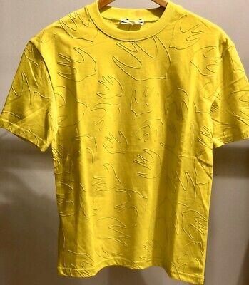 McQ Alexander McQueen Yellow Swallow Bird Outline T-Shirt Size M