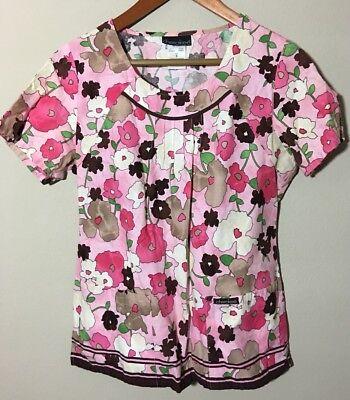 Cherokee Floral Uniform (CHEROKEE Womens Pink Floral Work Wear Scrub Top Uniform Size SMALL)