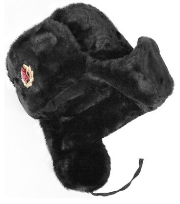 Russian Winter Hat Soviet Fur Military Cossack Ushanka BLACK SIZE 60 + Badge