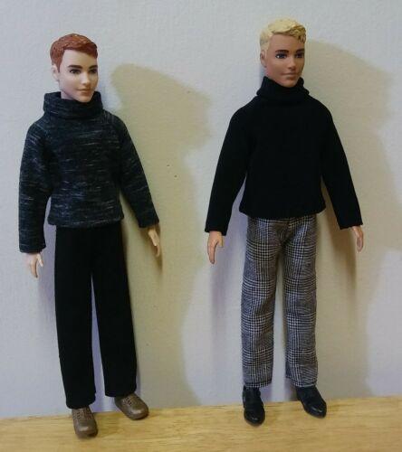"12""  Ken Doll Clothing  Tweed pants, Black shirt, Black pants, Grey Blend Shirt"