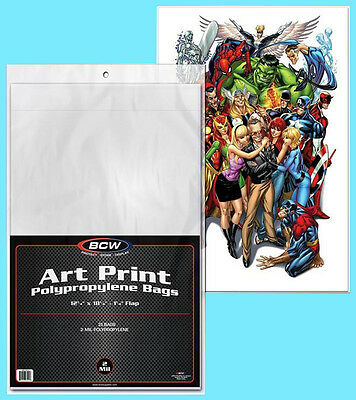 Archival Photo Storage - 25 BCW 12X18 ART PRINT 2 MIL BAGS NEW Storage Photo Poster Archival Print Sketch