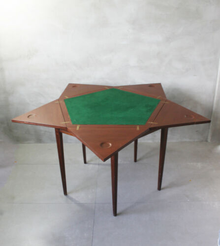 ANTIQUE FOLDING ENVELOPE ENGLISH 5 PLAYERS GAME TABLE OPEN W INLAIDS  SWIVEL TOP