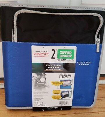 New Mead Five Star 2 Zipper Binder Multi Pockets Organizer Blue Black 580 Sheet