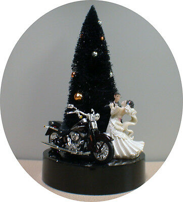 Halloween Wedding Cake Topper Groom top w/ harley davidson motorcycle PICK color (Halloween Wedding Toppers)