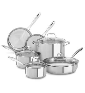 Brand new 10 piece stainless steel set