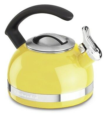 KitchenAid 2-Qt Steel Band Tea Kettle Whistle kten20cbis Citrus sunshine Yellow