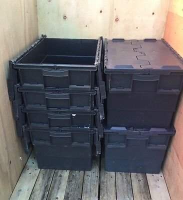 6 X 65ltr Heavy Duty Plastic Moving Storage Totes / Crates / Boxes
