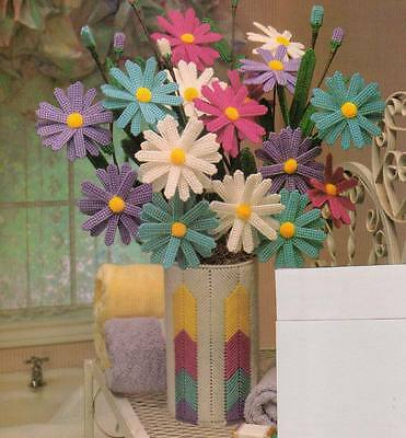 BOUQUET OF ASTERS FLOWERS & VASE PLASTIC CANVAS PATTERN INSTRUCTIONS
