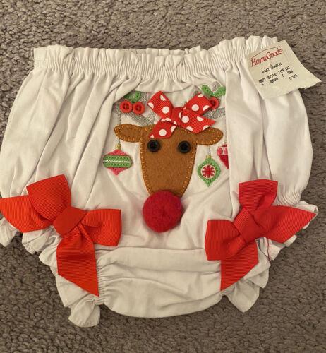 как выглядит Baby Girl sz 0-6 month White Red Raindeer Christmas Bloomer Diaper Cover MUD PIE фото