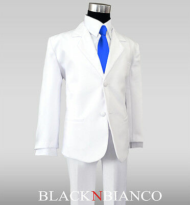 White Suit for Kids and Boys with a Royal Blue Long Neck Tie Outfit - White Suits For Boy