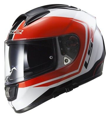 LS2 Vector Wake Helmet White/Black/Red XL NEW