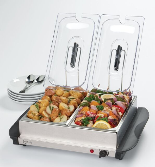 Electric 2 Dish Tray Buffet Server Food Warmer Catering Plate Stainless  Steel - Buffet Server Stainless Steel Warming Tray 2 Dish Electric Food