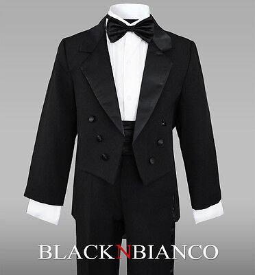 Black Tuxedo with Tail for Boys Teens Toddlers  2 3 4 5 6 7 8 10 12 14 16 18 20 - Suits For Toddlers Boys