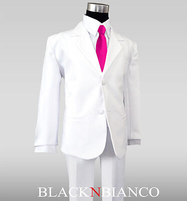 Toddler Teens White Tuxedo Suit With A Fuchsia Long Tie D...