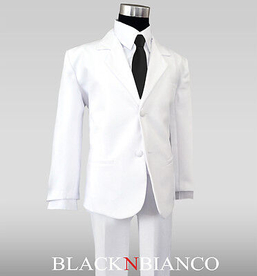 Boy Formal White Suit with Black Satin Tie outfit for weddings and ring - White Suits For Boy