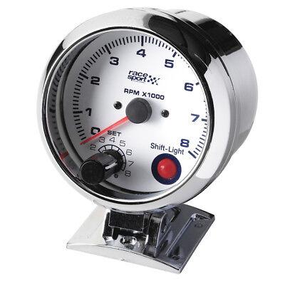 Sumex 90mm 12V Car Chromed RPM Tachometer Gauge Race Sport Dial - Shift Light