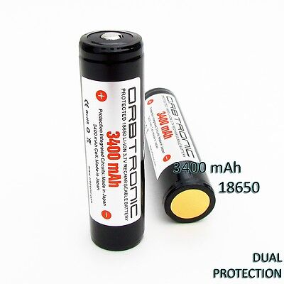 3400mAh TWO PROTECTED 18650 Li-ion PANASONIC NCR18650B Battery ORBTRONIC 3.7V  on Rummage