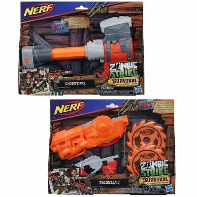 NERF Zombie Strike Survival System Set of 2: Twinslice + Chopstock NIB/Sealed