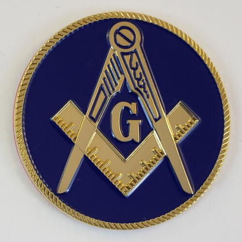Mini Auto Emblem Square & Compasses Metal Masonic Freemason Mason