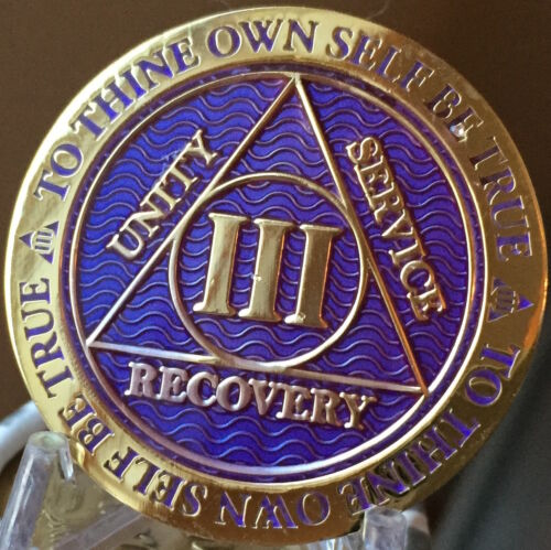 3 Year AA Medallion Purple Gold Plated Alcoholics Anonymous Sobriety Chip Coin