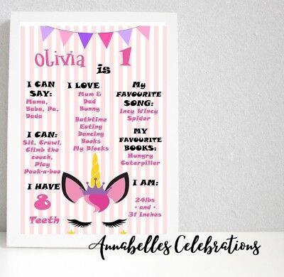 Milestone Party (Printable Custom Unicorn First Birthday Milestone Party Decorations 1st)