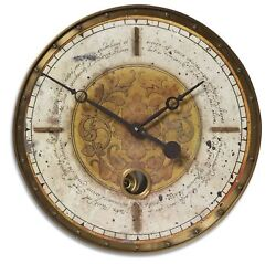 "Script Cream  & Brass Pendulum Wall Clock 18"" Tuscan Wall Art Decor Old World"