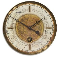 Leonardo Script Cream White Wall Clock /Brass Outer Rim&Internal Pendulum,18x18