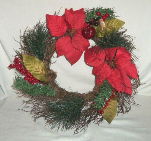 "17"" Christmas Door Wreath Red Holly Berry Poinsettia Apple"
