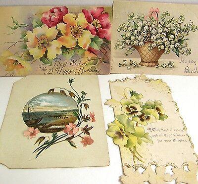 Lot of 15 Vintage 1910-1940s Birthday Cards Floral Postcards Ephemera Repurpose