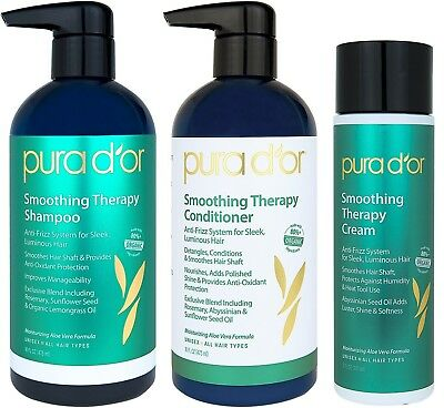 PURA D'OR Dor Smoothing Therapy Anti-Frizz Shampoo, Conditio