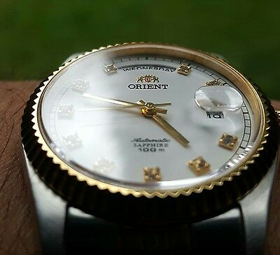 """Orient Automatic """"Oyster"""" Sapphire Classic Watch 2 Tone Gold CEV0J002W"""