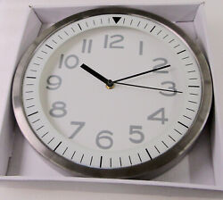 NEW 12' DW PRINT IRON 3AST WALL CLOCK WITH WHITE DIAL -BLACK MARKERS- FS2551WB