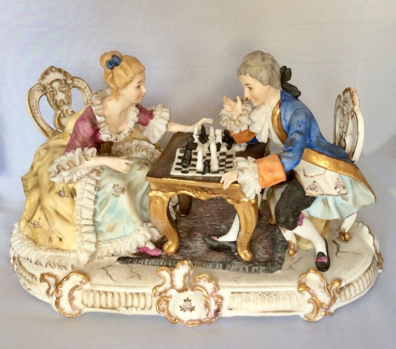 Italian Capodimonte & Dresden Lace Figurine - The Chess Players