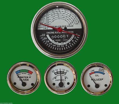 Oliver Tractor Super 55 66 67 Gauge Kit Tachometer Temp Ampere Oil-white