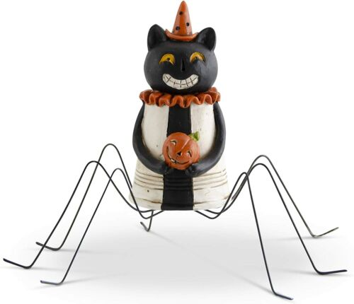 41991A 4.5 Inch Resin Halloween Spider Black Cat with Metal Legs Halloween