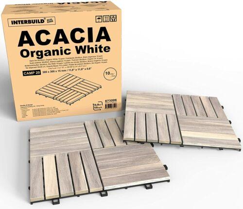 "Interbuild Acacia Hardwood Interlocking Patio Deck Tiles, 12"" × 12"" (Pack of 10)"